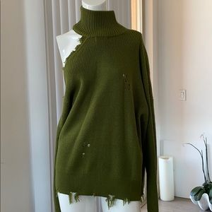 Lovers + Friends Distressed Green Turtle Neck
